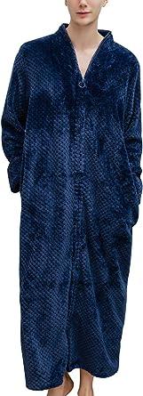 Previn Men's Luxury Zip Full Length Dressing Gown Waffle Bathrobe Fluffy Nightwear Sleepwear
