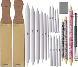 Happiness Floral 17 Pieces Blending Stumps and Tortillions Set with 2 Pieces Sandpaper Pencil Sharpener, 1 Pencil Extension Tool and 1 Eraser, for Student Sketch Drawing kit