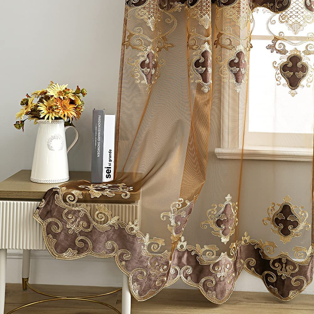 Brown お歳暮 Sheer Curtain Shiny Rod 数量限定 Pocket Roo for Voile Panels Living