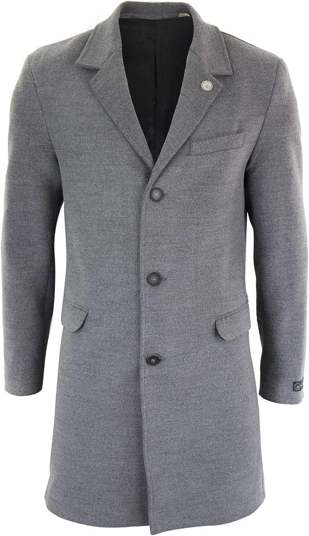 1920s Men's Coats & Jackets History TruClothing.com Mens 3/4 Long Crombie Overcoat Jacket Wool Feel Coat Blinders Slim Fit  AT vintagedancer.com