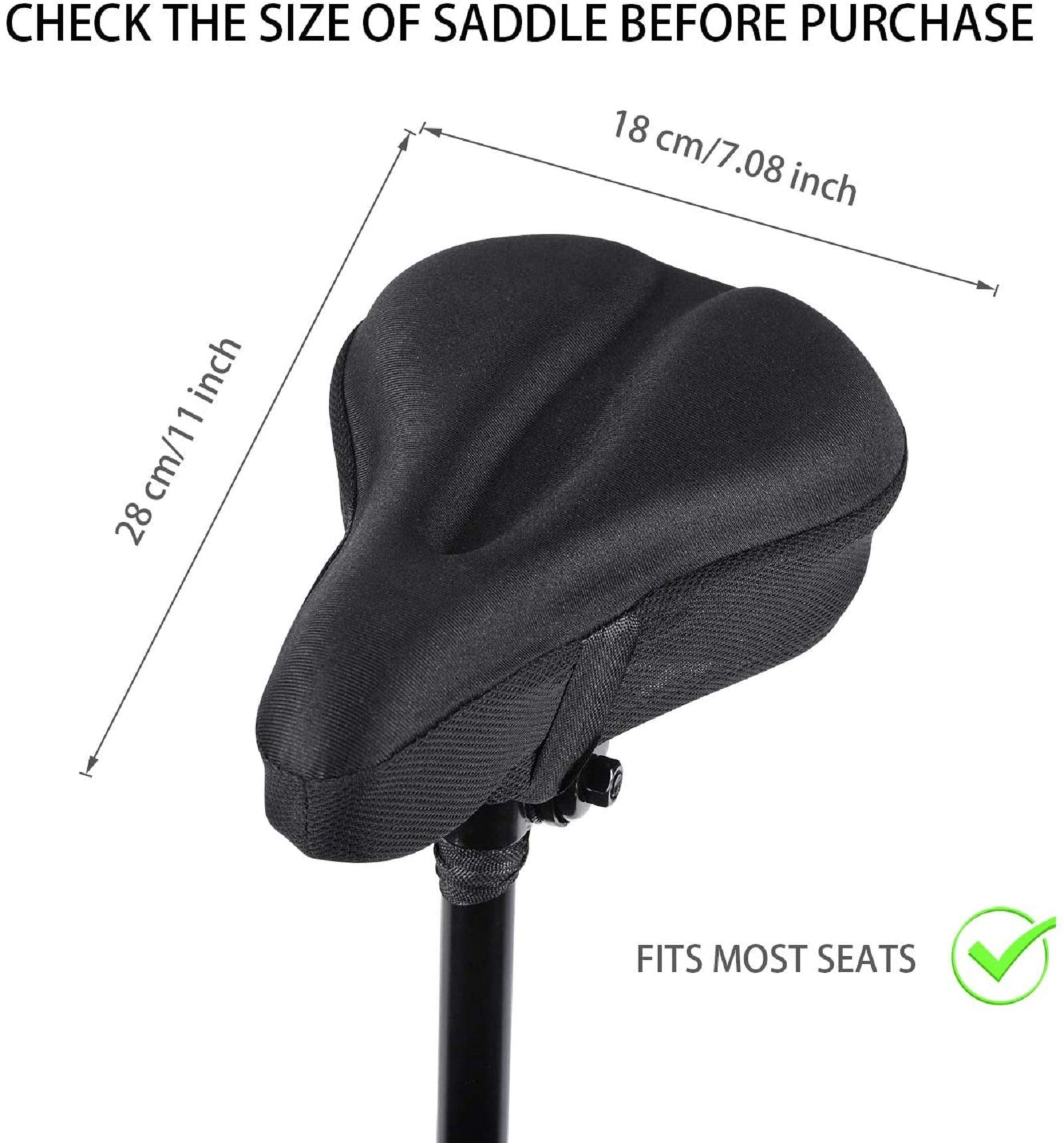 Aharin Comfort Bike Seat Cover Comfortable Replacement Bicycle Saddle Bicycle Extra Padding Soft Gel Cushion Comfort Soft Silicone Bicycle Seat Pad for Mountain Road Bike 11.4 inches x 7.4 inches