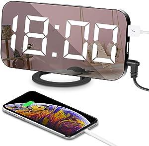 """Despertadores Digitales Multifuncional Reloj 6.5"""" Grande LED Espejo con Puerto USB para Cargador de teléfono Toque Activado Snooze y Dimmer Memoria Automática Luminancia Ajustable con 3 Niveles"""