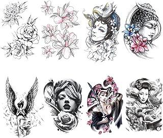 Yesallwas 8 Sheets Large Temporary Tattoo Sticker Fake Tattoos for men Girls Models,waterproof Long Lasting Body Art Makeup Sexy Realistic Arm tattoos -Rose flower,angel,lotus,Buddha, 5.9x8.26inche