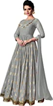 Exotic India Storm-Gray Designer Floor-Length Anarkali Suit with Printed Golden Bootis and Zari Embroidered Border