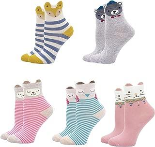 Girls Ankle Socks Toddler Cotton Sock Anti-slip Cute Cat Animal Socks Kids Funny Novelty Sox 5 Pairs