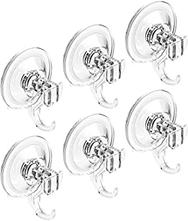 Quntis Suction Cups with Hooks- Heavy Duty Suction Cup Hooks- Waterproof Shower Hooks 6 Pack - Vacuum Suction Hooks Hanging for Robe Coat Towel Washcloth Loofah Sponge Wreath Keys Bags