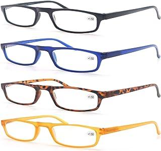 MODFANS Reading Glasses - 4 Pairs Fashion Readers Narrow Frame Spring Hinge for Men Women