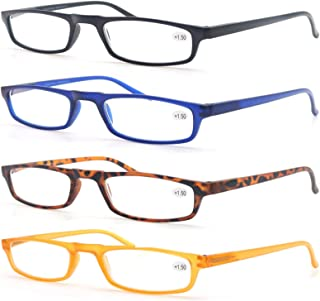 MODFANS Reading Glasses - 4 Pairs Fashion Readers Narrow Frame Spring Hinge for Men Women