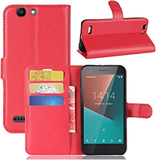 Vodafone smart E8 Case,Premium PU Leather Flip Folio Wallet Case with Card Slot,Stand Holder and Magnetic Closure [TPU Sho...