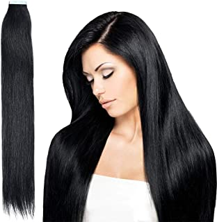 Tape in Hair Extensions-100% Remy Human Hair Seamless Skin Weft Straight Hair 20pcs 50g per Pack (16 Inches, 1 Jet Black)
