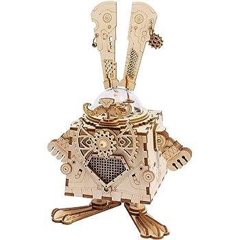 Robotime DIYオルゴール 3D立体パズル ロボット ギア クラフト キット 子供&大人 おもちゃ オモチャ 知育玩具 男の子 女の子 大人 新年 ギフト 誕生日 クリスマス プレゼント 贈り物兎