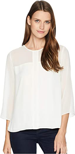 Long Sleeve Chiffon Yoke/Sleeve Soft Texture Blouse