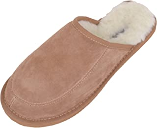 Snugrugs Men's Suede Mule Slipper with Wool Lining and Lightweight Sole