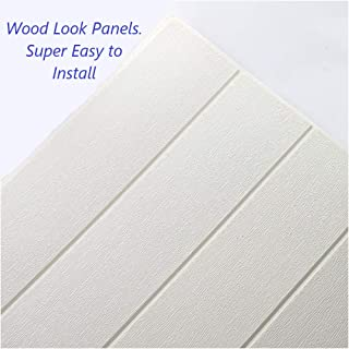 Bookishbunny 3D Wood Foam Wallpaper Ceiling Self Adhesive Home Wall Tiles Large Panel, White, 27