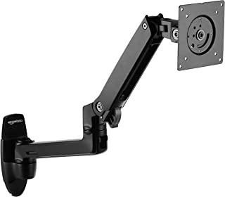 AmazonBasics Premium Wall Mount Computer Monitor and TV Stand - Lift Engine Arm Mount, Aluminum