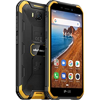 Rugged Smartphone Unlocked, Ulefone Armor X6 (2020) IP68 Waterproof Cell Phone, 5.0 inch, Android 9.0 2GB+16GB, 4000mAh Battery, Global 3G Dual SIM, LED Light, Face ID Compass+GPS Shockproof (Orange)