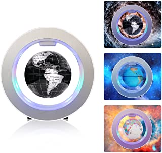 Magnetic Floating Globe Rotating Mysteriously Suspended in Air World Map with LED Lights for Children Gift Home Office Desk Decoration (Round Black)