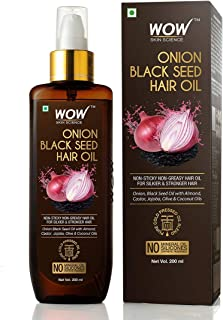 WOW Onion Black Seed Hair Oil for Natural Hair Care and Growth, Essential Vitamins In Almond, Castor, Jojoba, Olive & Coco...