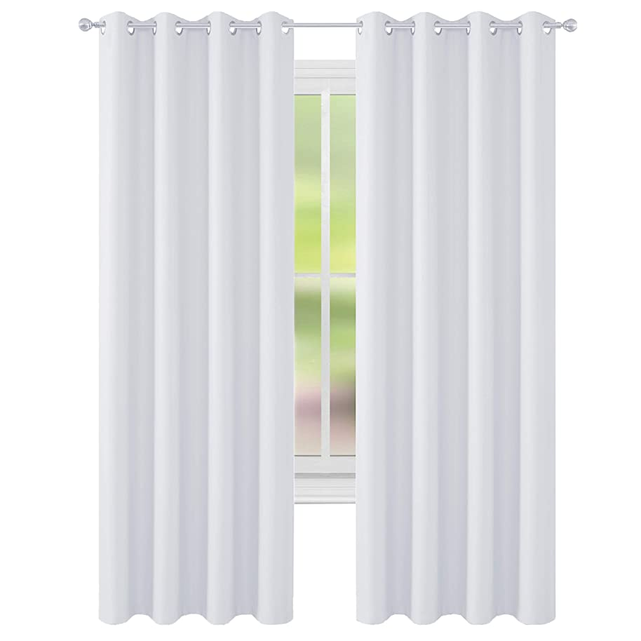 FLOWEROOM Room Darkening Blackout Curtains Thermal Insulated Draperies with Grommet for Bedroom, 52 by 84 inch, Greyish White, 2 Panels