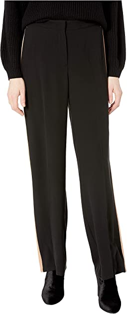 High-Waisted Straight Pants w/ Stripe