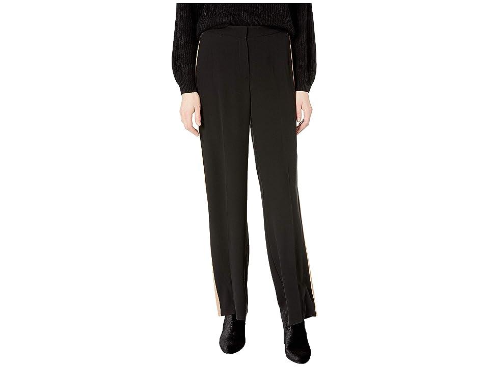 Eileen Fisher High-Waisted Straight Pants w/ Stripe (Black) Women