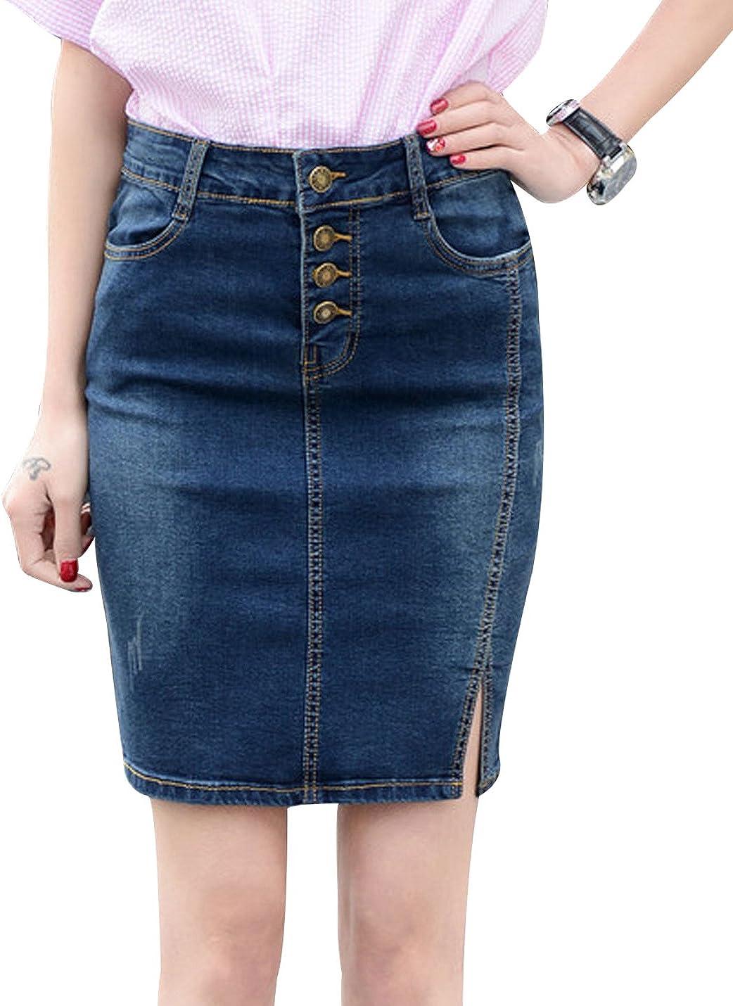 Yeokou Women's Side Split Stretch Denim Jean Bodycon Mini Short Pencil Skirt XXL