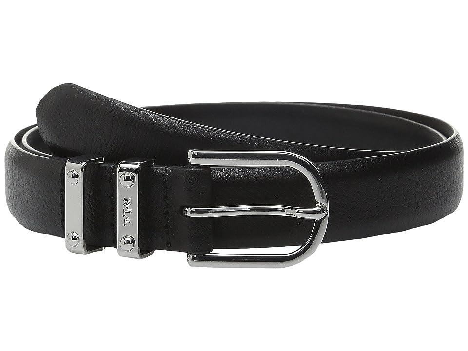 LAUREN Ralph Lauren Classics 1 Embossed Leather w/ Double Metal Keeper (Black) Women