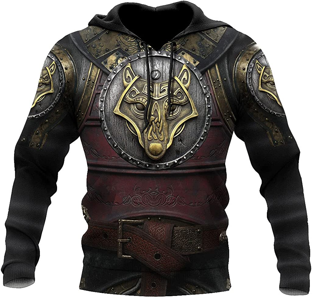 Viking Armor Tattoo 3D Printing Men's Hoodie, Fenrir Wolf Totem Pullover, Couples Sportswear Clothes