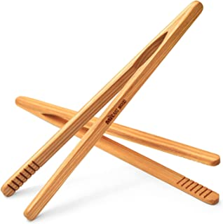 Mr.Art Wood Ultra Grip Wooden Toaster Kitchen Tongs (Pack of 2), 8