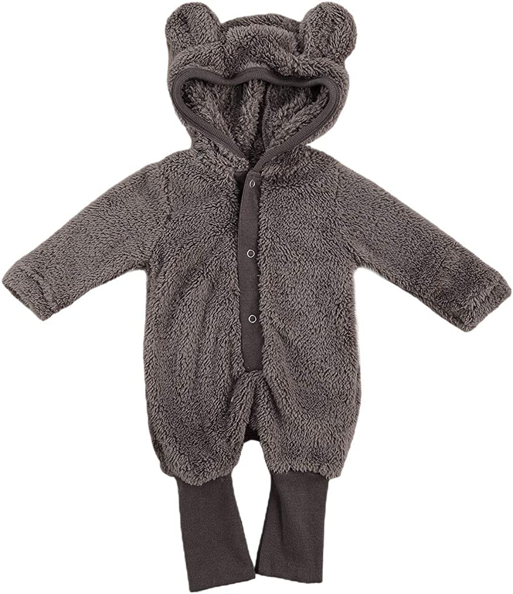 BULINGNA Newborn Baby Boy Girl Bear Hooded Jumpsuit Cotton Fleece Coats Fall Winter Outwear