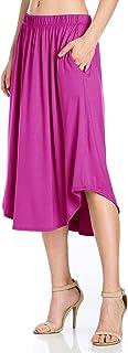 Fashion California Womens Elastic Waist High Low Midi Skirt Side Pockets (S-XXXXXL)