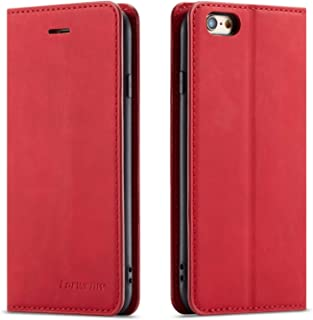 QLTYPRI iPhone 6 Plus 6S Plus Case, Premium PU Leather Cover TPU Bumper with Card Holder Kickstand Hidden Magnetic Adsorption Shockproof Flip Wallet Case for iPhone 6 Plus 6S Plus - Red