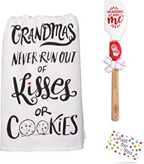 Just 4 U Gifts Grandma Grandchild Kitchen Set - Grandmas Never Run Out of Kisses or Cookies Towel and Red White Cupcake Spatula Set with Gift Tag