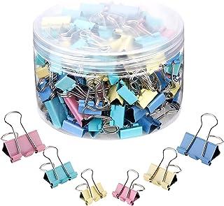 40 قطعة مشابك ورق متنوعة 4 ألوان، عرض 19 مم، مشابك ورق تغليف مشابك معدنية مطوية مع صندوق لللوازم المكتبية والمنزل والمدرسة