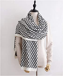 Womens Scarves New Winter Solid Knitted Scarf Acrylic Wool Big Size Women Plaid Designer Scarves Thick Warmer Shawls Macrame Long Scarf
