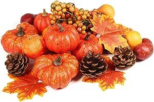 Ogrmar 24 PCS Artificial Pumpkins Set Thanksgiving Fake Pumpkins for Halloween Autumn Harvest Home Decorations, Include 3 Fake Maple Leaf, 6 Fake Pine Cone, 12 Assorted Fake Pumpkins, 3 Berry Cluster