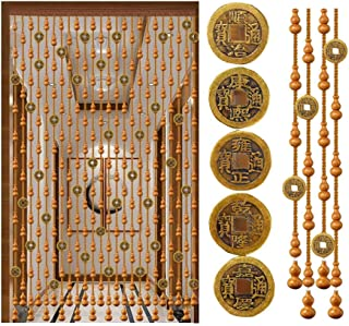 Beaded Curtain Wooden Beads Door String Curtains for Doorway Passage, Room Divider, Bronze Coin Vintage Partition, Chinese...