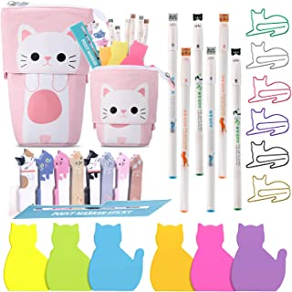 Cat Office Supplies Cat-shaped Sticky Notes Paper Clips Transformer Telescopic Pencil Pouch Holder Cat Gel Ink Pens Cartoo...