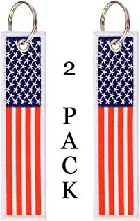 American Flag Keychain Tag with Key Ring and Carabiner - Keys, Cars, Motorcycles, Backpacks, Luggage, and Gifts - EDC (Red White Blue)