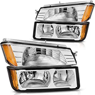 Headlight Assembly for 2002-2006 Chevy Avalanche with BODY CLADDING,Chrome Housing Amber Refletor with Signal Lights