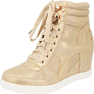 Cambridge Select Women`s High Top Closed Toe Lace-up Perforated Hidden Wedge Fashion Sneaker,9 B(M) US,Champagne