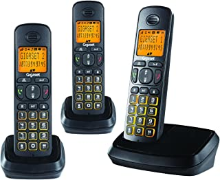 Gigaset A500 Trio Cordless Phone with 6 Hr Talk Time, 140 Hr Standby, 50M Indoor-300M Outdoor Range, 80 Contact Storage, D...