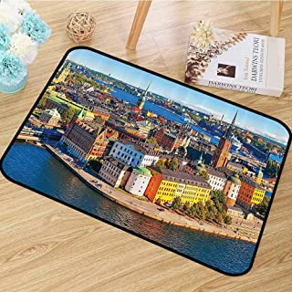Wanderlust Decor Collection Area Rug Scenic Summer Aerial Panorama of The Old Town Gamla Stan in Stockholm Sweden Image Anti-Static W39 x L63 Blue Yellow