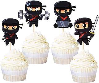 Ercadio 24 Pack Modern Ninja Cupcake Toppers Assambled Karate Kung Fu Warriors Cupcake Picks Baby Shower Kids Boys Ninjas ...