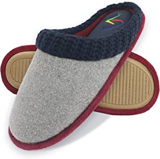 Women's Hand-Knit Collar Memory Foam Mule Slippers Cozy Wool Melton Indoor Shoes with Anti-Skid Sole