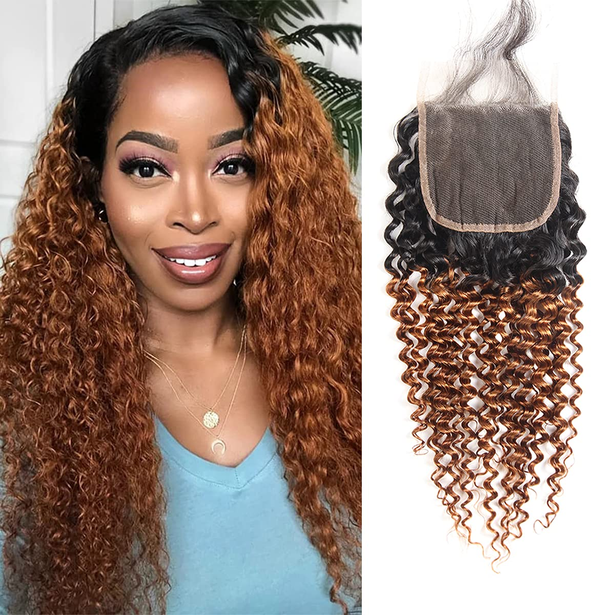 Branded goods Brazilian Kinky wholesale Curly Human Hair Extension Brown 30 Swiss 1B 4x4