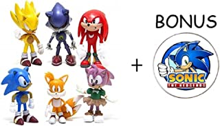 Sonic the Hedgehog Action Figures - 6-Pack Collectible Figures with Sonic Brooch- Highly Detailed Design - For Kids and Collectors- Includes Sonic, Tails, Knuckles, Metal Sonic, Amy Rose & Super Sonic