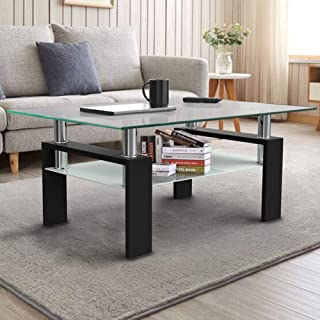 Function Home Rectangle Glass Coffee Table, Clear Coffee...