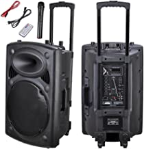AW 1500W Portable Active PA Speaker w/Wireless Microphone Guitar AMP Bluetooth USB SD LCD FM Party Show