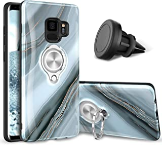 eSamcore Samsung Galaxy S9 Case – Luxury Marble Ring Holder Phone Cases + Vent Car Phone Mount for Samsung Galaxy S9 [Granite Gray]